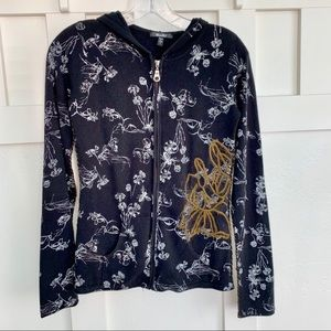 Miss Me Floral Embroidered Black Hoodie